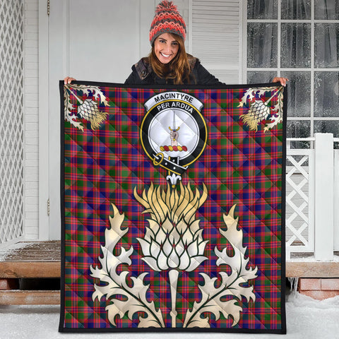 Image of MacIntyre Modern Clan Crest Tartan Scotland Thistle Gold Royal Premium Quilt