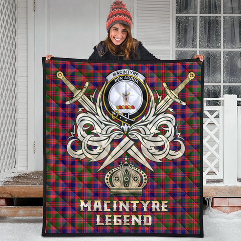 MacIntyre Modern Clan Crest Tartan Scotland Clan Legend Gold Royal Premium Quilt