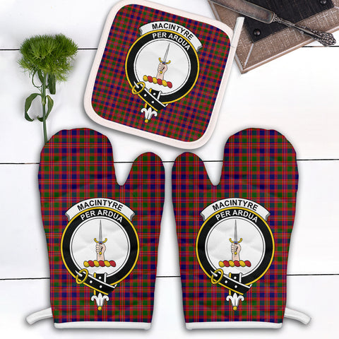 Image of MacIntyre Modern Clan Crest Tartan Scotland Oven Mitt And Pot-Holder (Set Of Two)