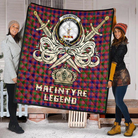 MacIntyre Modern Clan Crest Tartan Scotland Clan Legend Gold Royal Premium Quilt K9