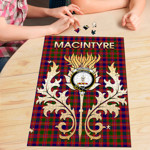 Image of MacIntyre Modern Clan Name Crest Tartan Thistle Scotland Jigsaw Puzzle