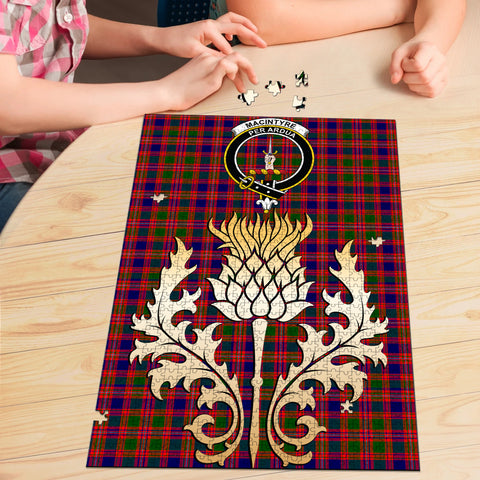 Image of MacIntyre Modern Clan Crest Tartan Thistle Gold Jigsaw Puzzle