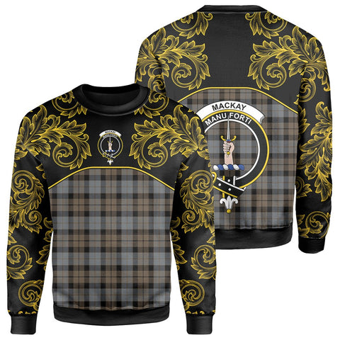 MacKay Weathered Tartan Clan Crest Sweatshirt - Empire I - HJT4