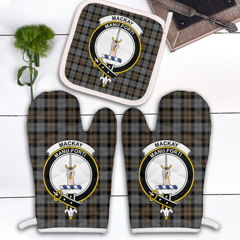 MacKay Weathered Clan Crest Tartan Scotland Oven Mitt And Pot-Holder (Set Of Two)