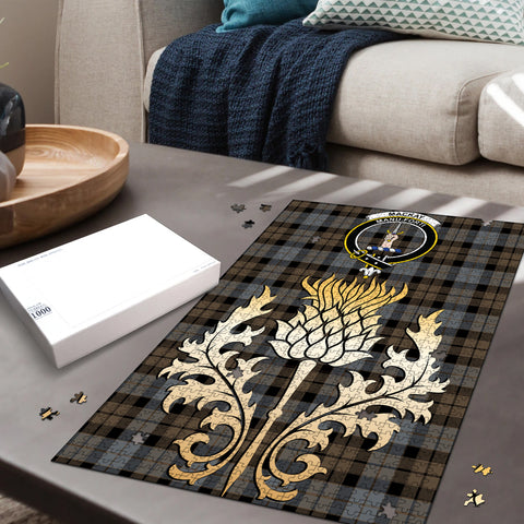 MacKay Weathered Clan Crest Tartan Thistle Gold Jigsaw Puzzle