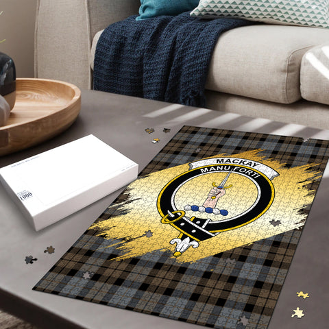 MacKay Weathered Clan Crest Tartan Jigsaw Puzzle Gold