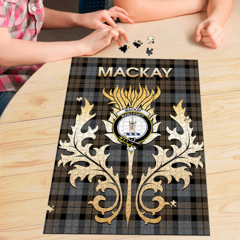 MacKay Weathered Clan Name Crest Tartan Thistle Scotland Jigsaw Puzzle