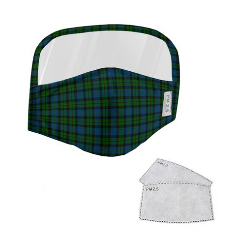 MacKay Modern Tartan Face Mask With Eyes Shield - Green & Blue  Plaid Mask TH8