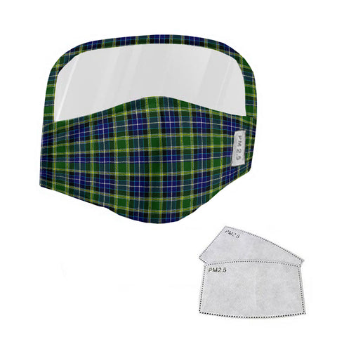 MacKellar Tartan Face Mask With Eyes Shield - Blue & Green  Plaid Mask TH8