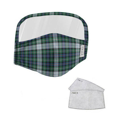 MacKenzie Dress Ancient Tartan Face Mask With Eyes Shield - White & Green  Plaid Mask TH8