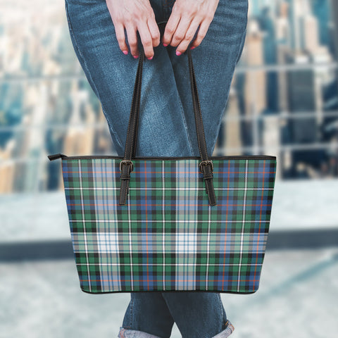 MacKenzie Dress Ancient Tartan Leather Tote Bag (Large) | Over 500 Tartans | Special Custom Design