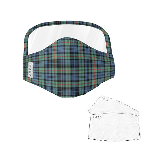 MacKinlay Ancient Tartan Face Mask With Eyes Shield - Blue & Green  Plaid Mask TH8