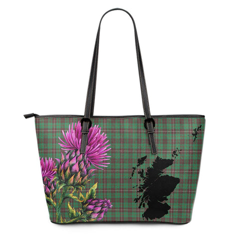 MacKinnon Hunting Ancient Tartan Leather Tote Bag Thistle Scotland Maps A91