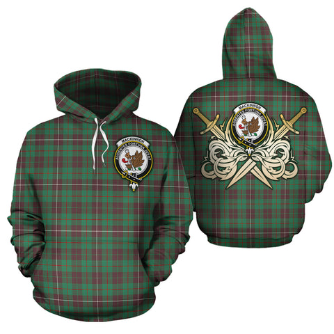 MacKinnon Hunting Ancient Clan Crest Tartan Scottish Gold Thistle Hoodie