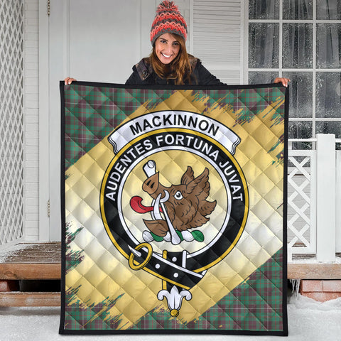 Image of MacKinnon Hunting Ancient Clan Crest Tartan Scotland Gold Royal Premium Quilt
