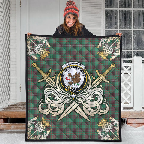 MacKinnon Hunting Ancient Clan Crest Tartan Scotland Thistle Symbol Gold Royal Premium Quilt
