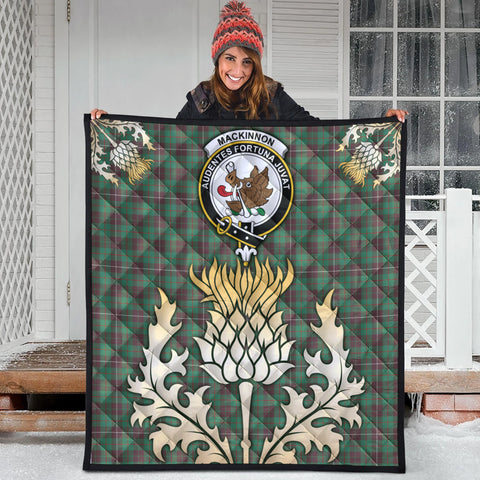 MacKinnon Hunting Ancient Clan Crest Tartan Scotland Thistle Gold Royal Premium Quilt
