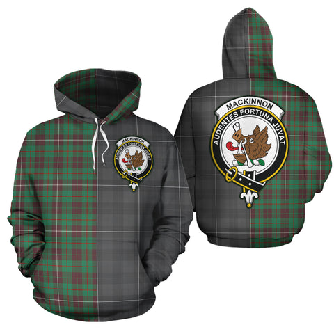 MacKinnon Hunting Ancient Clan Half Of Me New Version Crest Tartan Hoodie