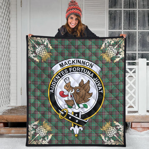 Image of MacKinnon Hunting Ancient Clan Crest Tartan Scotland Thistle Gold Pattern Premium Quilt