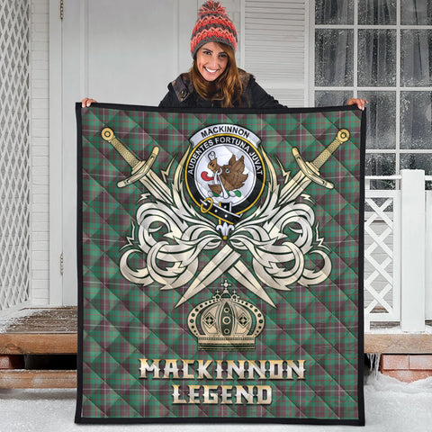 Image of MacKinnon Hunting Ancient Clan Crest Tartan Scotland Clan Legend Gold Royal Premium Quilt