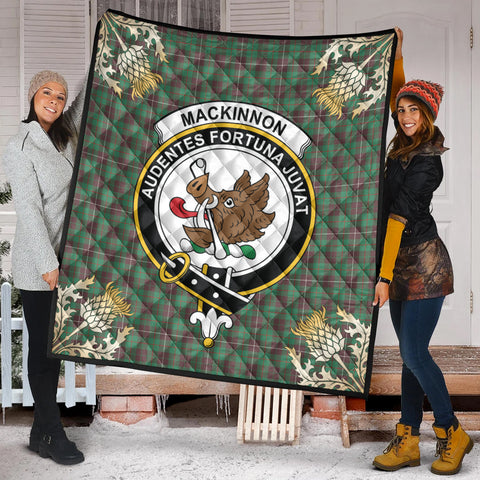 Image of MacKinnon Hunting Ancient Clan Crest Tartan Scotland Thistle Gold Pattern Premium Quilt K9