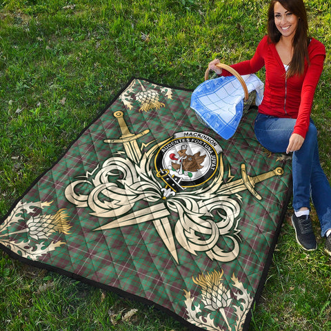 MacKinnon Hunting Ancient Clan Crest Tartan Scotland Thistle Symbol Gold Royal Premium Quilt K9