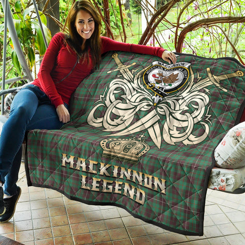 Image of MacKinnon Hunting Ancient Clan Crest Tartan Scotland Clan Legend Gold Royal Premium Quilt K9
