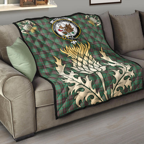 MacKinnon Hunting Ancient Clan Crest Tartan Scotland Thistle Gold Royal Premium Quilt K9