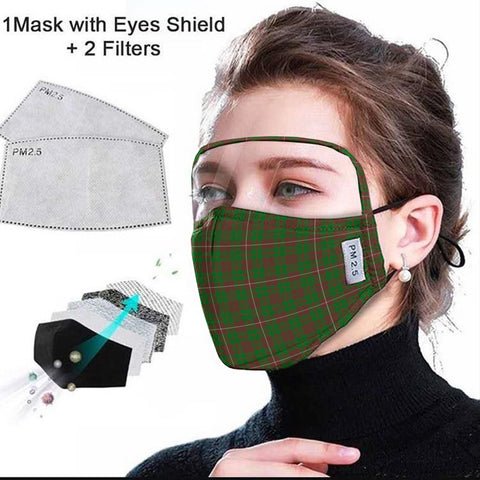 MacKinnon Hunting Modern Tartan Face Mask With Eyes Shield - Green & Brown  Plaid Mask TH8