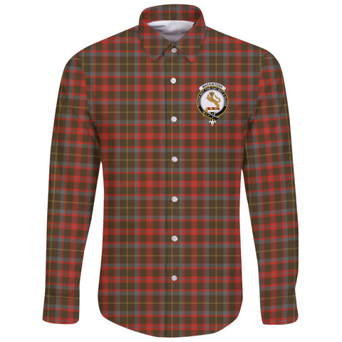 MacKintosh Hunting Weathered Tartan Clan Long Sleeve Button Shirt | Scottish Clan