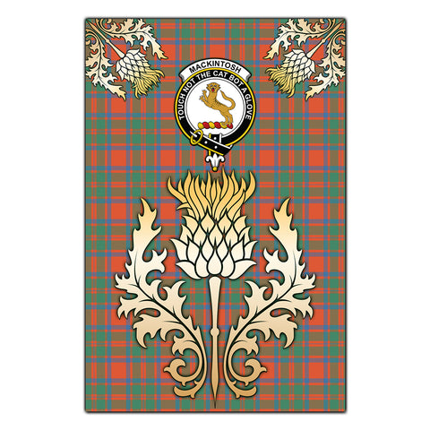 Garden Flag MacKintosh Ancient Clan Crest Gold Thistle
