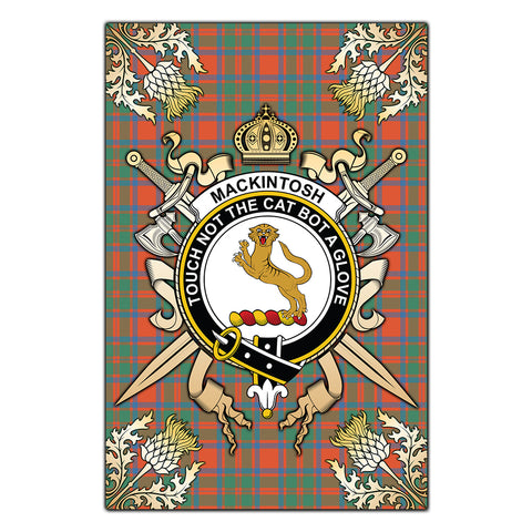 Garden Flag MacKintosh Ancient Clan Crest Sword Gold Thistle