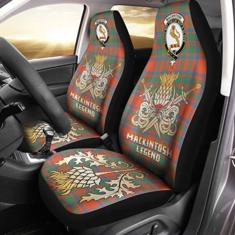 Car Seat Cover MacKintosh Ancient Clan Crest Gold Thistle Courage Symbol