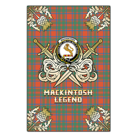 Garden Flag MacKintosh Ancient Clan Crest Golf Courage  Gold Thistle