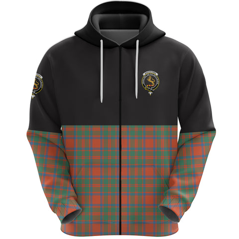 MacKintosh Ancient Clan Zip Hoodie Half of Tartan