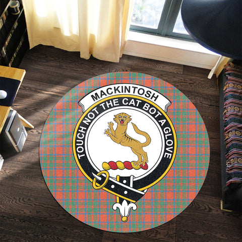 MacKintosh Ancient Clan Crest Tartan Round Rug