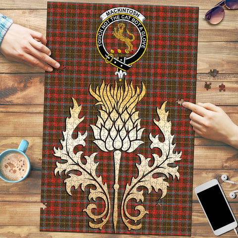 MacKintosh Hunting Weathered Clan Crest Tartan Thistle Gold Jigsaw Puzzle