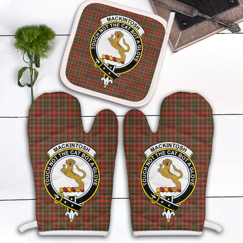 MacKintosh Hunting Weathered Clan Crest Tartan Scotland Oven Mitt And Pot-Holder (Set Of Two)