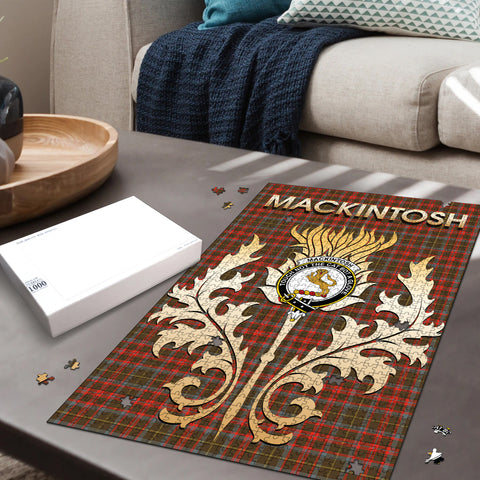 MacKintosh Hunting Weathered Clan Name Crest Tartan Thistle Scotland Jigsaw Puzzle