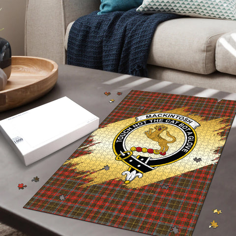 MacKintosh Hunting Weathered Clan Crest Tartan Jigsaw Puzzle Gold