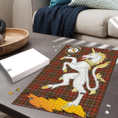 MacKintosh Hunting Weathered Clan Crest Tartan Unicorn Scotland Jigsaw Puzzle