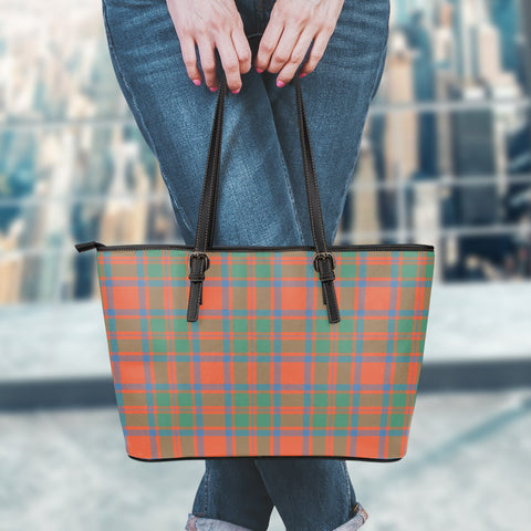 MacKintosh Ancient Tartan Leather Tote Bag (Small) | Over 500 Tartans | Special Custom Design
