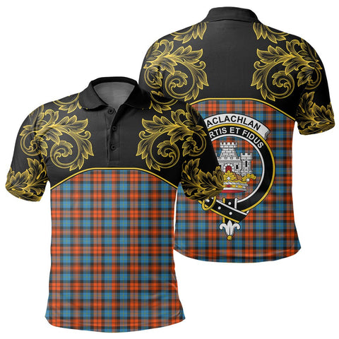 Image of MacLachlan Ancient Tartan Clan Crest Polo Shirt - Empire I - HJT4