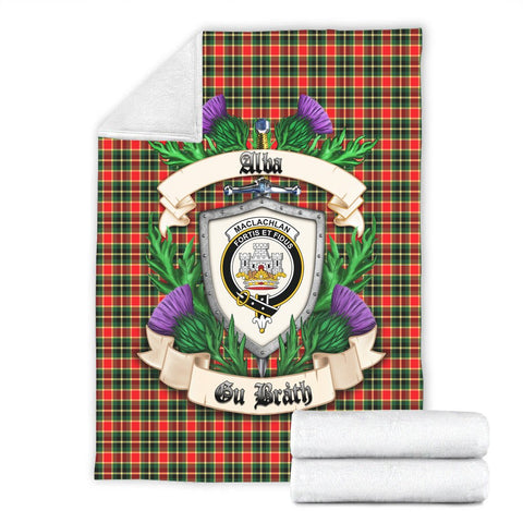 MacLachlan Hunting Modern Crest Tartan Blanket Thistle  | Tartan Home Decor | Scottish Clan