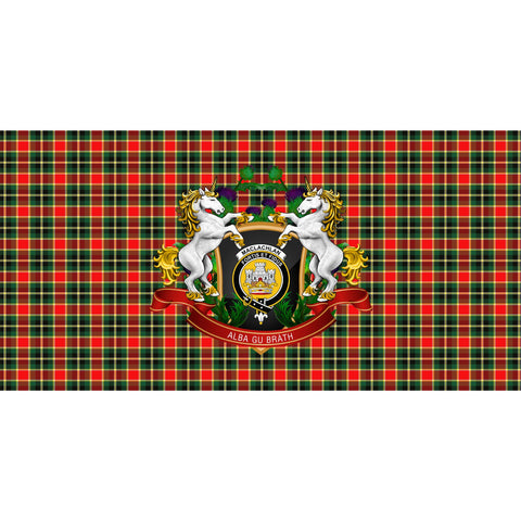 Image of MacLachlan Hunting Modern Crest Tartan Tablecloth Unicorn Thistle A30