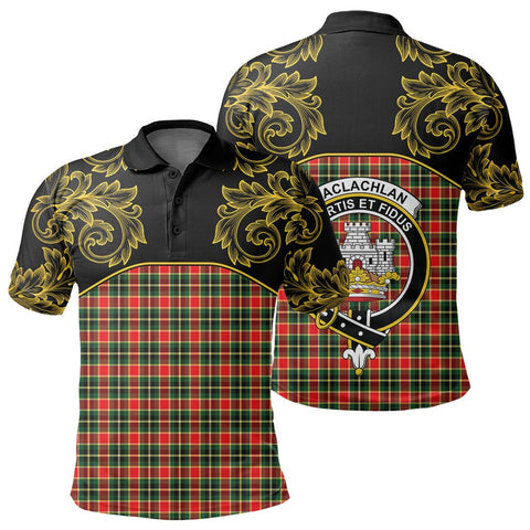 Image of MacLachlan Hunting Modern Tartan Clan Crest Polo Shirt - Empire I - HJT4