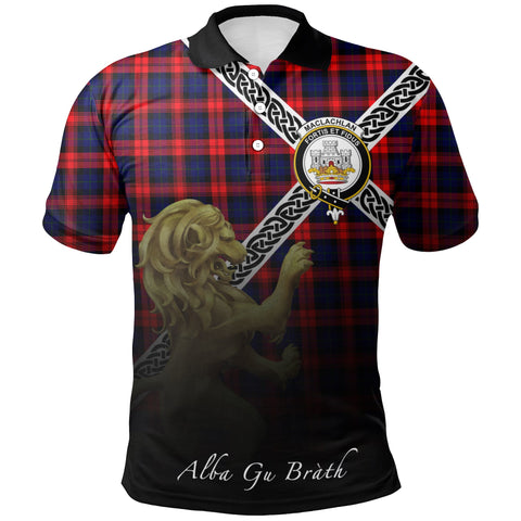 Image of MacLachlan Modern Polo Shirts Tartan Crest Celtic Scotland Lion A30