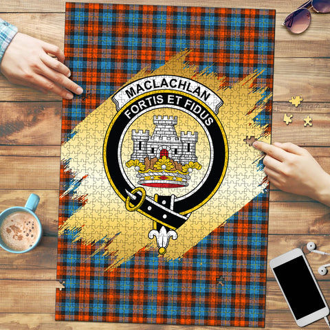 MacLachlan Ancient Clan Crest Tartan Jigsaw Puzzle Gold