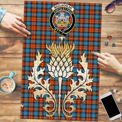 MacLachlan Ancient Clan Crest Tartan Thistle Gold Jigsaw Puzzle