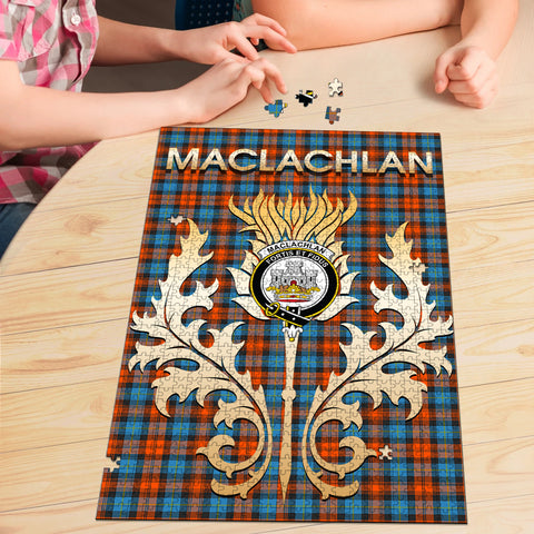 MacLachlan Ancient Clan Name Crest Tartan Thistle Scotland Jigsaw Puzzle